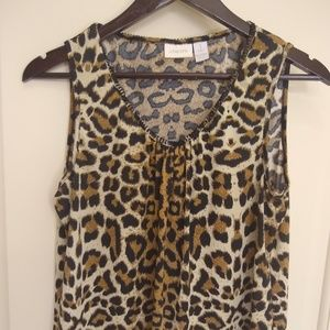 Leopard sleeveless blouse